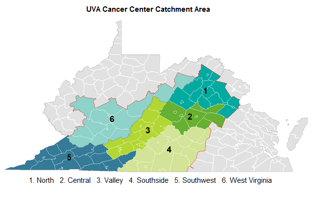 UVA Cancer Center catchment area map