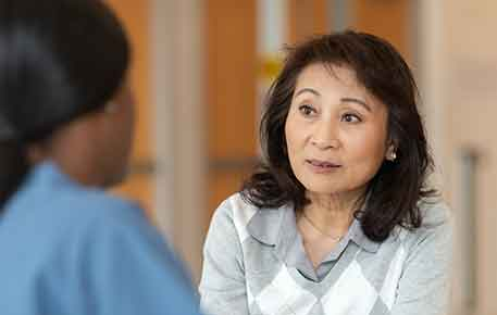 Patient in a cancer genetic counseling session