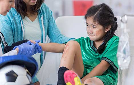 This child's sports injury means she goes to the emergency room for kids at UVA